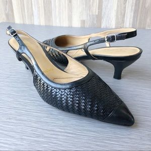 Trotters Black Kimberly Leather Slingback Pump 7M